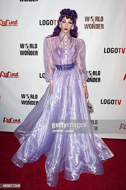 Violet Chachki arrives at the premiere of Logo TV's RuPaul's Drag Race Season 7 at The Mayan on February 18 2015 in Los Angeles California