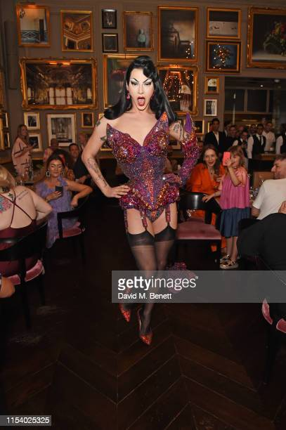Violet Chachki performs at a pride brunch hosted by House of Holland and The London EDITION in aid of Albert Kennedy Trust at Berners Tavern on July...
