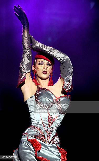 Violet Chachki performs during RuPaul's Drag Race show at The O2 Ritz Manchester on March 24 2016 in Manchester England