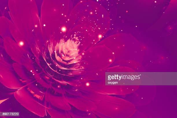 3D Violet glowing flower fractal with particles