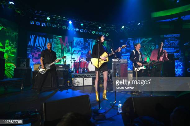Violet Grohl, Dave Grohl, Beck, St. Vincent, Krist Novoselic and Pat Smear perform onstage during The Art of Elysium and We are Here Present Heaven...