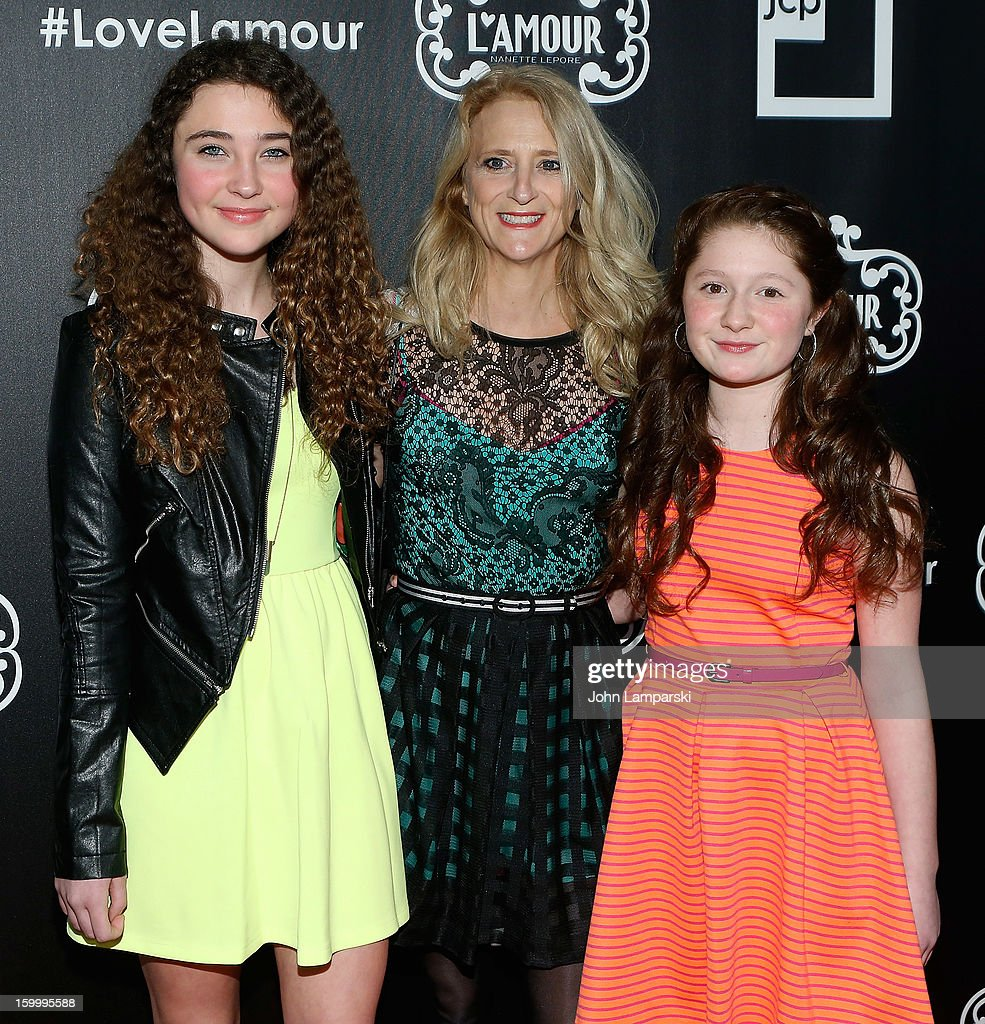 Violet Lepore, Nanette Lepore and Emma Kenney attend JCPenney and Nanette Lepore Launch Event for L'Amour by Nanette Lepore at Good Units on January 24, 2013 in New York City.