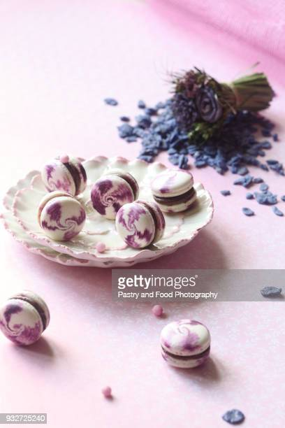 Violet Macarons with Chocolate Blueberry Filling
