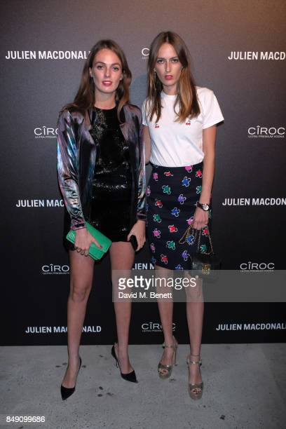 Violet Manners and Alice Manners attendsJulien Macdonald Spring Summer 2018 Show sponsored by Ciroc at The Bankside Vaults on September 18 2017 in...