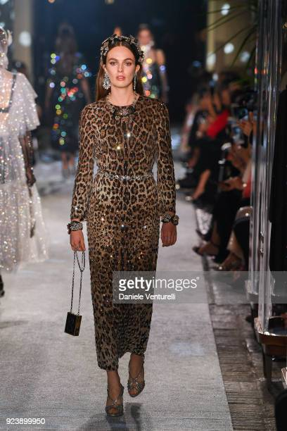 Violet Manners walks the runway at the Dolce Gabbana show during Milan Fashion Week Fall/Winter 2018/19 on February 24 2018 in Milan Italy
