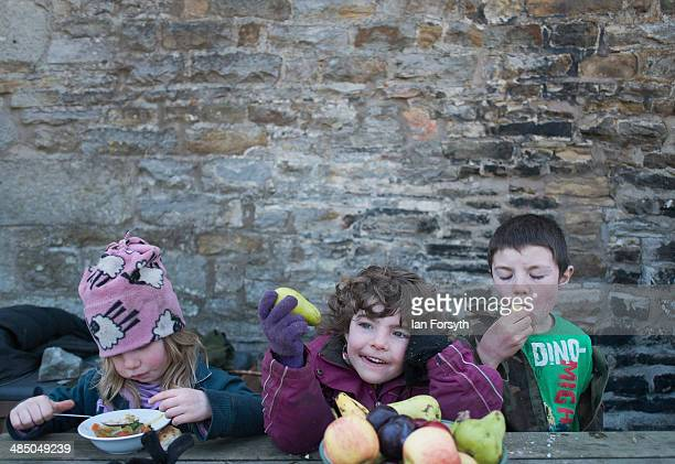 Violet Owen her sister Edith and her brother Miles enjoy soup and fruit for lunch at Ravenseat the farm of the Yorkshire Shepherdess Amanda Owen on...