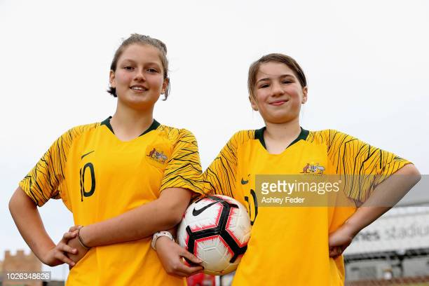 Violet Palmer and Madison Barradeen pose for a photo at McDonald Jones stadium after the announcement of a two match International Friendly series...