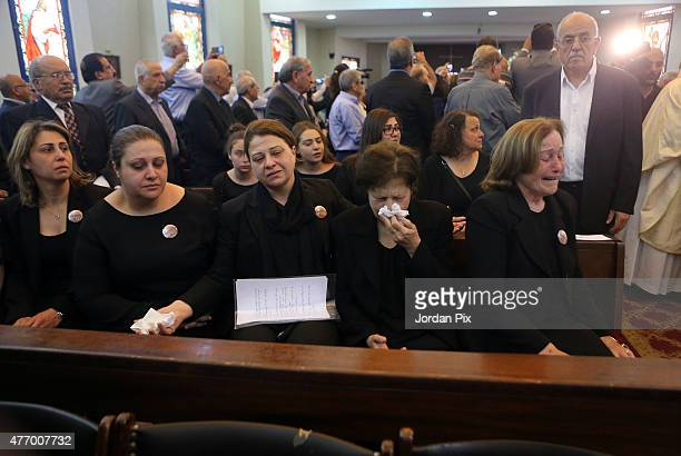Violet the wife of Tariq Aziz and other family members attend the funeral for Tariq Aziz the former Iraqi deputy prime minister and top aide of...