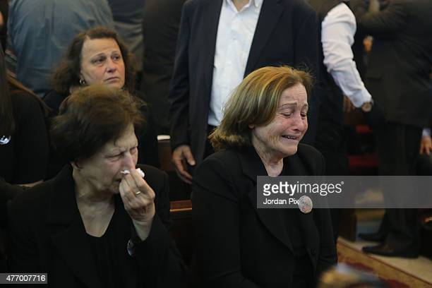 Violet the wife of Tariq Aziz attends the funeral for Tariq Aziz the former Iraqi deputy prime minister and top aide of Saddam Hussein at the St Mary...