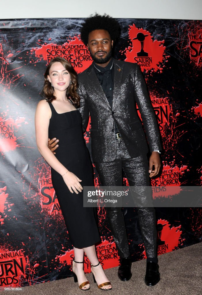 Violett Beane and Echo Kellum pose in the press room at the Academy Of Science Fiction, Fantasy & Horror Films' 44th Annual Saturn Awards at The Castaway on June 27, 2018 in Burbank, California.