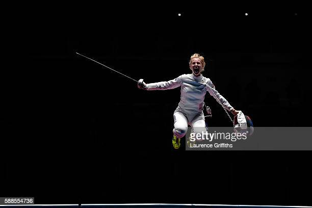 Violetta Kolobova of Russia celebrates after defeating Irina Embrich of Estonia to help Russia win the Women's Epee Team Bronze Medal Match bout on...