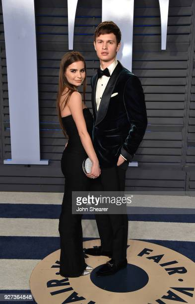 Violetta Komyshan and actor Ansel Elgort attend the 2018 Vanity Fair Oscar Party hosted by Radhika Jones at Wallis Annenberg Center for the...
