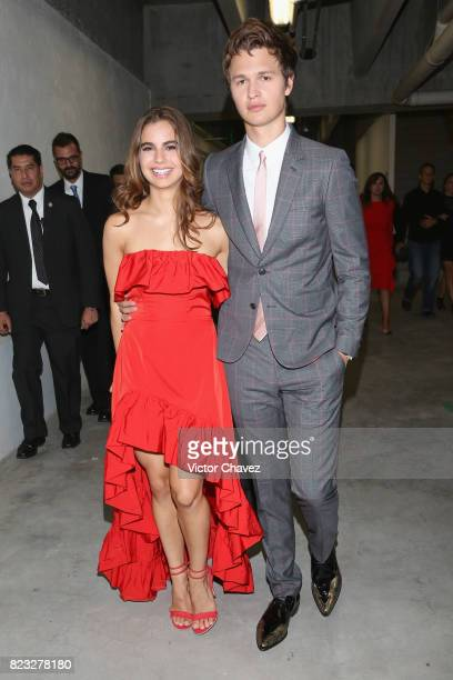 Violetta Komyshan and actor Ansel Elgort attend the 'Baby Driver' Mexico City premier at Cinemex Antara Polanco on July 26 2017 in Mexico City Mexico