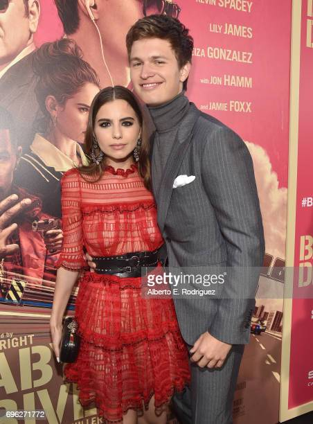 Violetta Komyshan and actor Ansel Elgortattend the premiere of Sony Pictures' Baby Driver at Ace Hotel on June 14 2017 in Los Angeles California