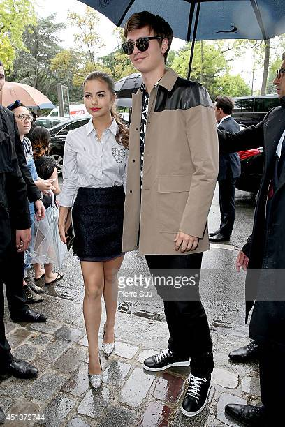 Violetta Komyshan and Ansel Elgort arrive to attend the DIOR Menswear Spring/Summer 2015 fashion show> on June 28 2014 in Paris France