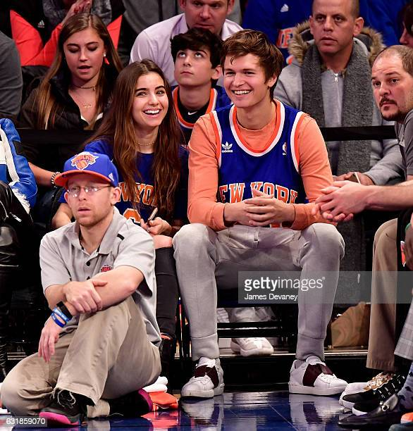 Violetta Komyshan and Ansel Elgort attend Atlanta Hawks Vs New York Knicks game at Madison Square Garden on January 16 2017 in New York City