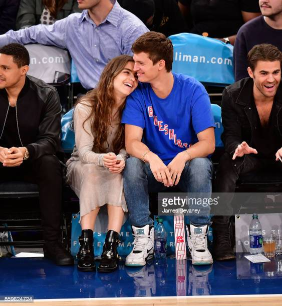 Violetta Komyshan and Ansel Elgort attend Houston Rockets Vs New York Knicks game at Madison Square Garden on October 9 2017 in New York City