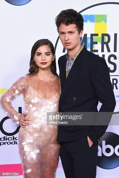 Violetta Komyshan and Ansel Elgort attend the 2017 American Music Awards at Microsoft Theater on November 19 2017 in Los Angeles California