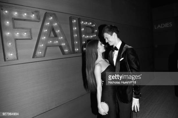 Violetta Komyshan and Ansel Elgort attend the 2018 Vanity Fair Oscar Party hosted by Radhika Jones at Wallis Annenberg Center for the Performing Arts...