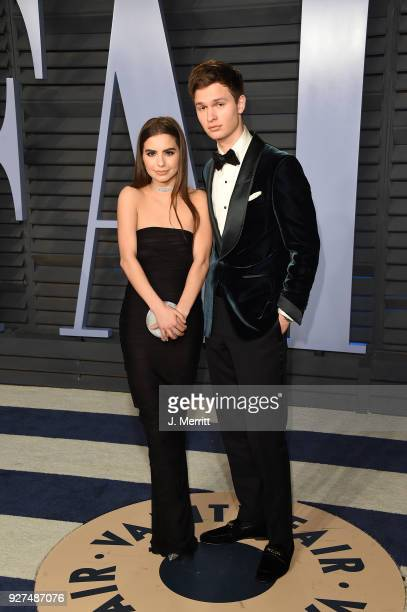 Violetta Komyshan and Ansel Elgort attend the 2018 Vanity Fair Oscar Party hosted by Radhika Jones at the Wallis Annenberg Center for the Performing...
