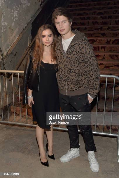 Violetta Komyshan and Ansel Elgort attend the Alexander Wang February 2017 fashion show during New York Fashion Week on February 11 2017 in New York...