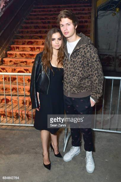 Violetta Komyshan and Ansel Elgort attend the Alexander Wang show during New York Fashion Week at RKO Hamilton Theater on February 11 2017 in New...