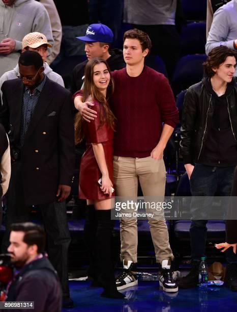 Violetta Komyshan and Ansel Elgort attend the New York Knicks Vs Boston Celtics game at Madison Square Garden on December 21 2017 in New York City