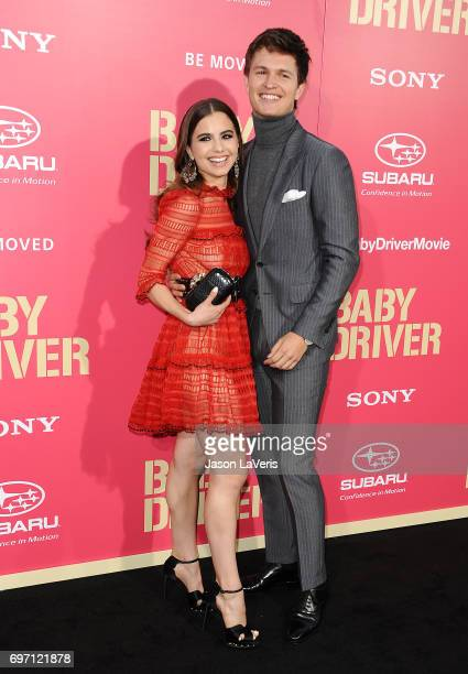 Violetta Komyshan and Ansel Elgort attend the premiere of 'Baby Driver' at Ace Hotel on June 14 2017 in Los Angeles California