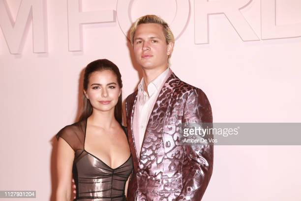 Violetta Komyshan and Ansel Elgort attend Tom Ford FW19 Fashion Show at Park Avenue Armory on February 06 2019 in New York City