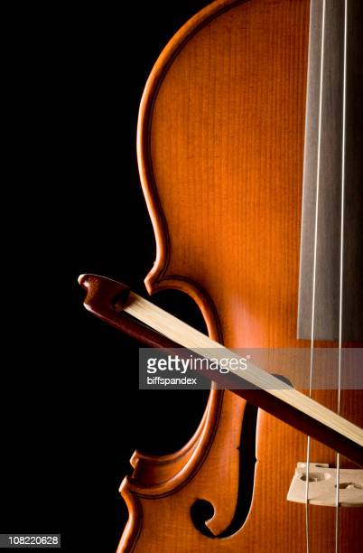 Violin and Bow on Black Background, Low Key