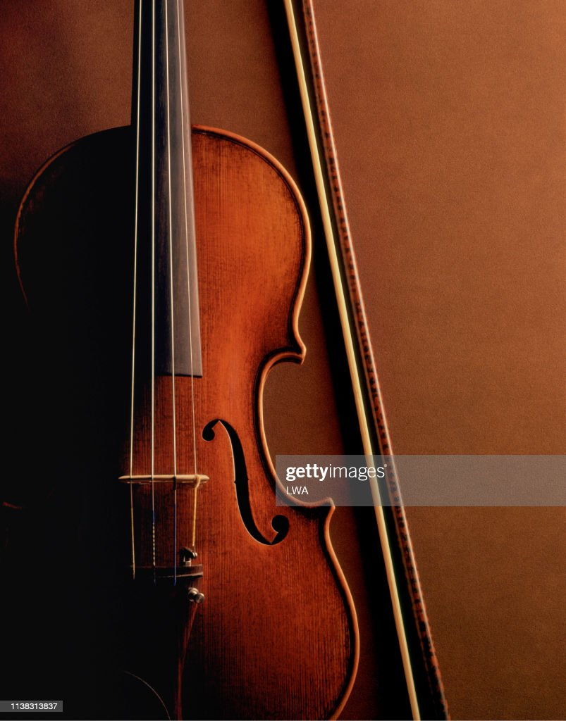 Violin and bow : Stock Photo