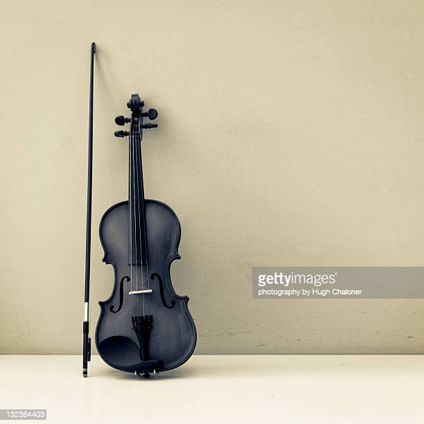Violin and bow, treated monochrome