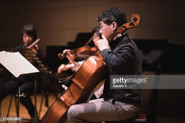 violin and cello concert - classical musician stock pictures, royalty-free photos & images