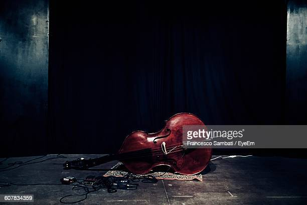 Violin At Stage During Music Concert