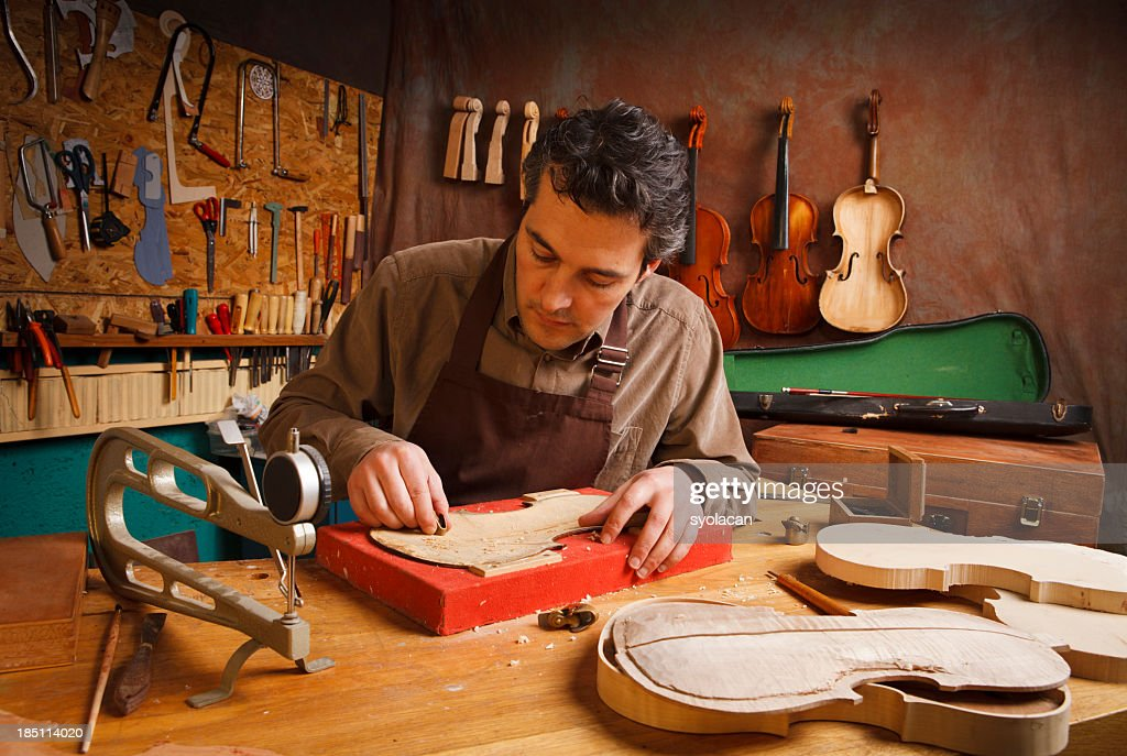 Violin Maker : Stock Photo