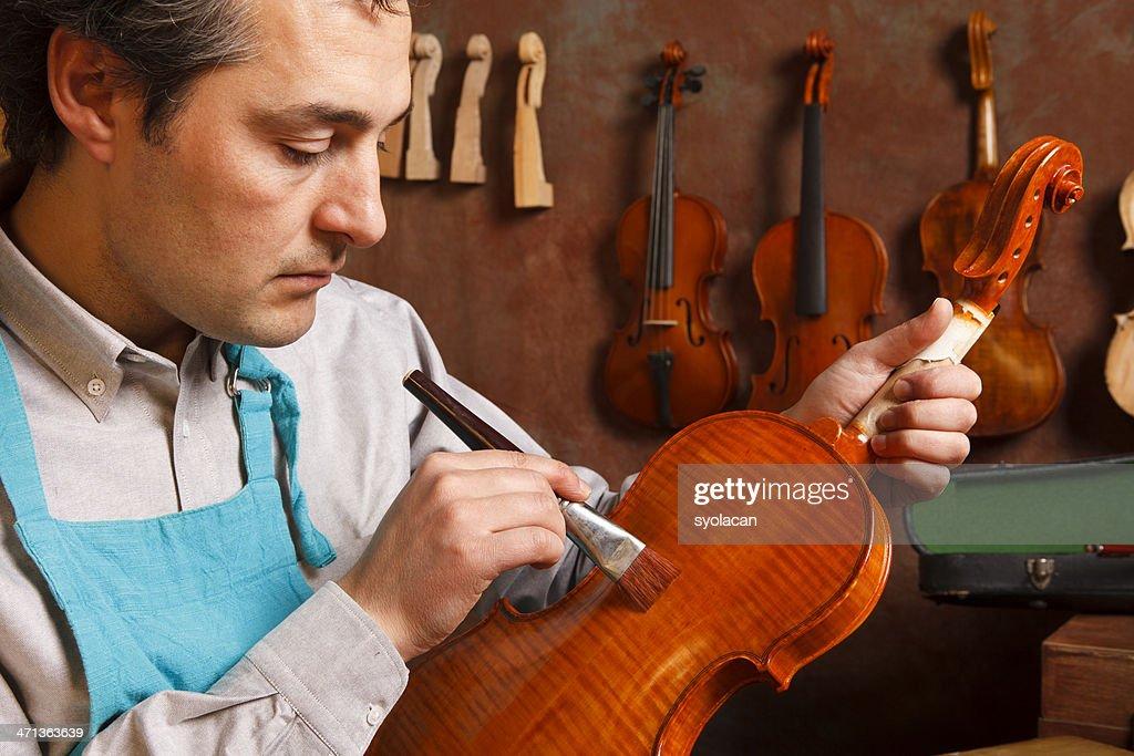 Violin Maker : Stock Photo