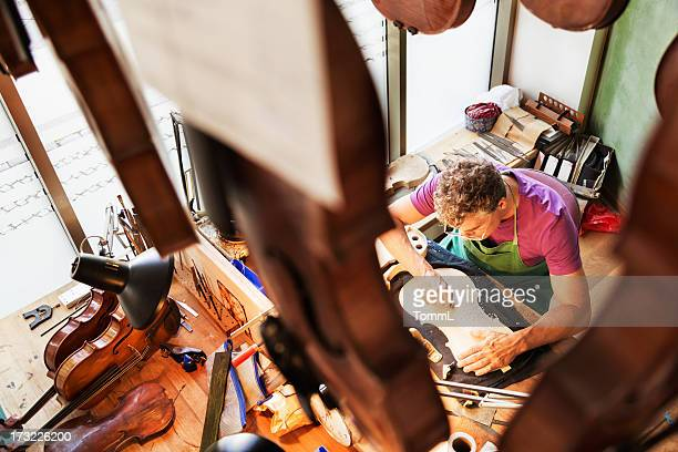 violine maker working - string instrument stock photos and pictures