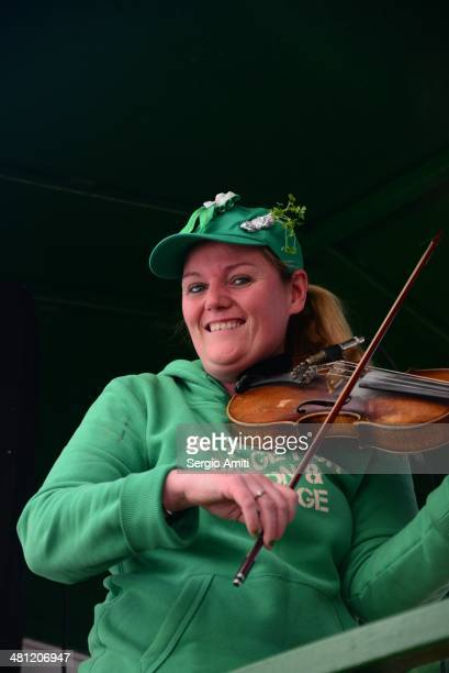 Violin player at the Saint Patrick's Day Parade in London