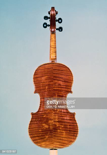 Violin reare view made by Antonio Stradivari Italy 17th century Florence Museo Strumenti Musicali Conservatorio Cherubini