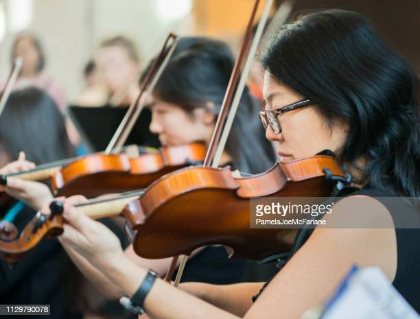 violin section of all ages community orchestra performing in concert - classical concert stock pictures, royalty-free photos & images