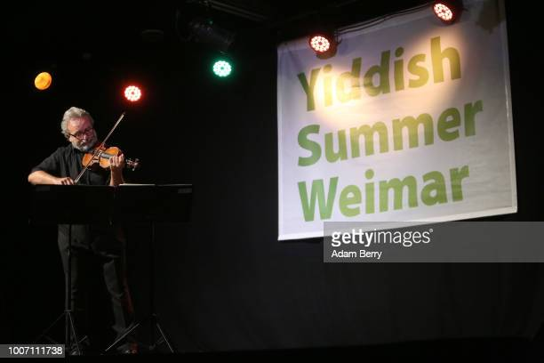Violinist Aleksei Rozov performs during a concert at Yiddish Summer Weimar on July 28, 2018 in Weimar, Germany. The annual four-week summer institute...