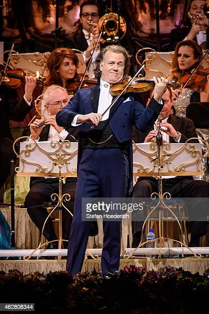 Violinist Andre Rieu and his orchestra perform live on stage during a concert at O2 World on February 5 2015 in Berlin Germany