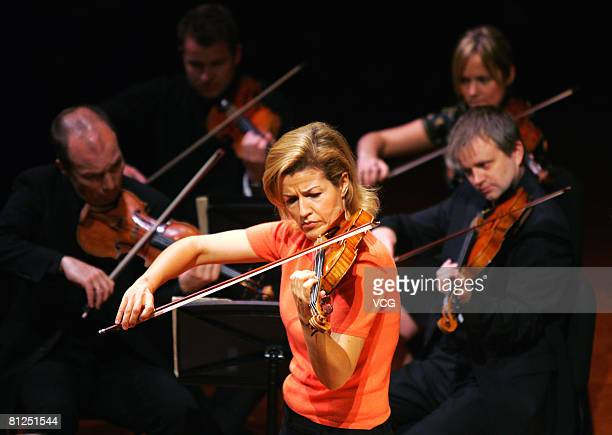 Violinist Anne Sophie Mutter performs during her dress rehearsal ahead of her concert in Beijing May 27 2008 in Beijing China