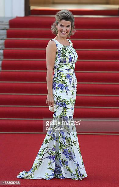 Violinist AnneSophie Mutter arrives for the state banquet in honour of Queen Elizabeth II at Schloss Bellevue palace on the second of the royal...