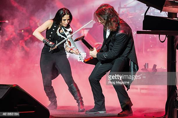 Violinist Asha Mevlana and guitarist Al Pitrelli of American progressive rock group TransSiberian Orchestra performing live on stage at the...