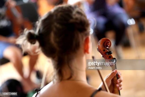 A violinist attends a workshop during Yiddish Summer Weimar on July 27 2018 in Weimar Germany The annual fiveweek summer institute and festival...