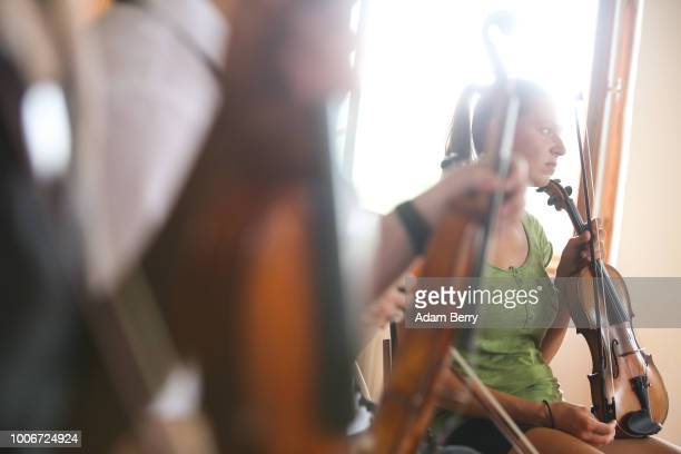Violinist attends a workshop during Yiddish Summer Weimar on July 27, 2018 in Weimar, Germany. The annual five-week summer institute and festival,...