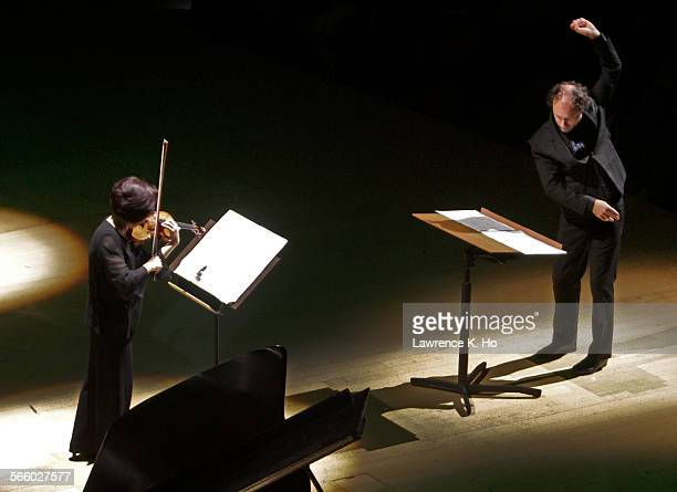 Violinist Bing Wang and conductor Otto Tausk in Di Castri's 'la forma dello spazio' Otto Tausk conducting the LA Phil New Music Group in the season...