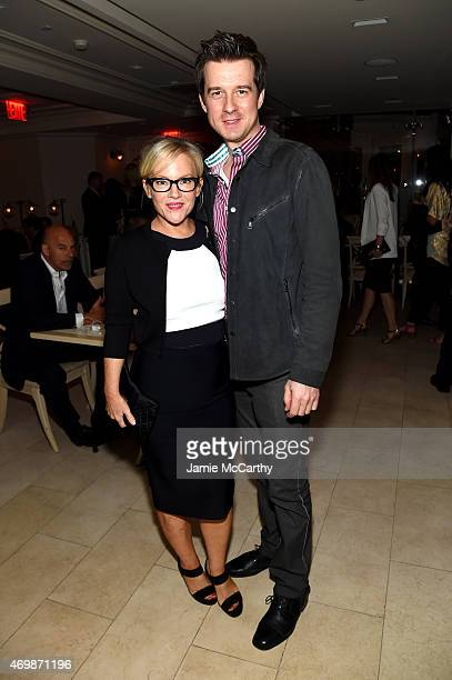 Violinist Christian Hebel and actress Rachael Harris attend the 2015 Tribeca Film Festival Opening Night After Party for Live from New York presented...