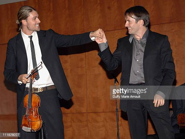 Violinist David Garrett and pianist Simon Perry during Montegrappa's Presentation of The Genio Creativo Award at the Rose Building Lincoln Center on...